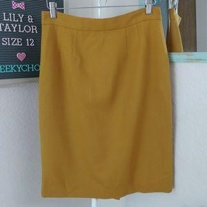 Vintage Skirts - Lily & Taylor vintage wool pencil skirt mustard